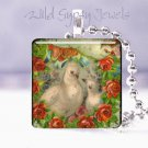 Love Doves Red Rose wreath vintage Victorian shabby glass tile pendant necklace