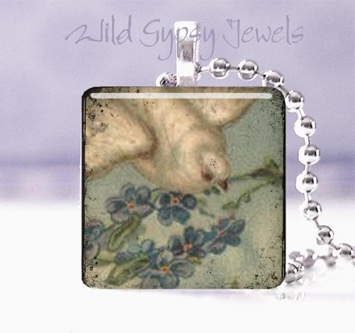"Vintage Dove blue violets grey cream Victorian 1"" glass tile pendant necklace"