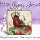 "Red Burgundy Christmas Bird roses crown shabby 1"" glass tile pendant necklace"