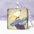 "Blue Violet Morning Glory Butterfly Vintage chic 1"" glass tile pendant necklace"