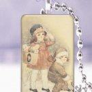 """Vtg. Christmas children snowsuits postcard 1 x 1.5"""" glass tile pendant necklace"""