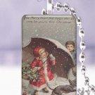 "Vtg. Christmas children snow dog postcard 1 x 1.5"" glass tile pendant necklace"