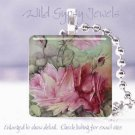 Hand painted pink rose aqua green Victorian glass tile pendant necklace made USA