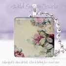 "Neutral bg hand painted roses pink burgundy aqua 1"" glass tile pendant necklace"