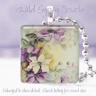"Chic Victorian style HP floral purple white cream 1"" glass tile pendant necklace"