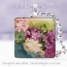 Chic shabby hand painted roses purple pink glass tile pendant necklace made USA