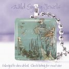 "Vtg Fairytale Fairy Faerie flight neutral aqua 1"" glass tile pendant necklace"