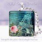 """Paris Eiffel Tower negative cyan rose chic shabby 1"""" glass tile pendant necklace"""