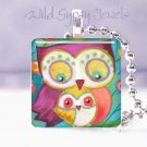 """Mother Baby Owls Peach Aqua cute whimsical bright 1"""" glass tile pendant necklace"""