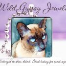 """Siamese seal point Cat watercolor teal green blue 1"""" glass tile pendant necklace"""