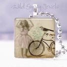"""Vtg girl in Pink bird bicycle ivory Gift idea 1"""" glass tile pendant necklace USA"""