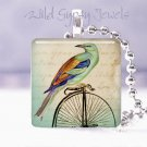 "Teal bird Vtg big wheel bicycle HOT Gift idea 1"" glass tile pendant necklace USA"