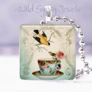 "Teacup cuppa tea yellow bird rose ivory blue 1"" GLASS tile pendant necklace"