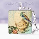 "Teal bird Vtg teapot rose ivory HOT Gift idea 1"" glass tile pendant necklace USA"