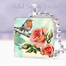 "Vtg Robin Roses Bird singing aqua Gift idea 1"" glass tile pendant necklace USA"