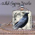 """Edgar Allen Poe Nevermore Black Raven Goth Punk 1"""" glass tile pendant necklace"""