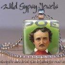 "Edgar Allen Poe Goth Punk Poet Green Red 1"" glass tile pendant necklace gift ide"