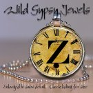 Altered Art CLOCK face glass round cabochon Necklace Pendant Charm Initial ~ Z