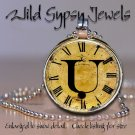 Altered Art CLOCK face glass round cabochon Necklace Pendant Charm Initial ~ U