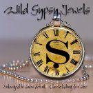 Altered Art CLOCK face glass round cabochon Necklace Pendant Charm Initial ~ S