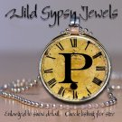 Altered Art CLOCK face glass round cabochon Necklace Pendant Charm Initial ~ P