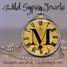 Altered Art CLOCK face glass round cabochon Necklace Pendant Charm Initial ~ M