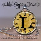 Altered Art CLOCK face glass round cabochon Necklace Pendant Charm Initial ~ L