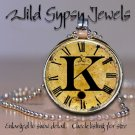 Altered Art CLOCK face glass round cabochon Necklace Pendant Charm Initial ~ K
