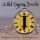 Altered Art CLOCK face glass round cabochon Necklace Pendant Charm Initial ~ I