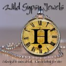 Altered Art CLOCK face glass round cabochon Necklace Pendant Charm Initial ~ H