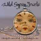 Rabbit Doll altered clock face ROUND glass tile metal charm pendant necklace HOT