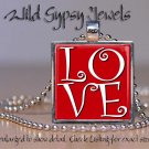 Red white LOVE glass tile metal pendant charm necklace chic trendy HOT pop NEW