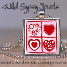 Hearts squared Valentine Day pop culture glass tile metal pendant charm necklace