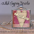 Heart I LOVE You glass tile metal pendant charm Valentine's Day necklace chic