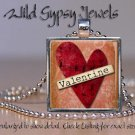 Glass tile metal pendant charm Heart necklace Valentine's Day Red Peach HOT chic
