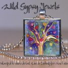 """Tree of LIFE hearts blue purple red watercolor 1"""" glass tile pendant necklace"""