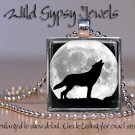 "Wolf Silhouette full Moon howing B&W gray nature 1"" glass tile pendant necklace"