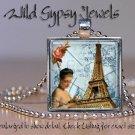 "Paris Eiffel Tower ivory ephemera 1"" glass tile pendant charm necklace gift idea"