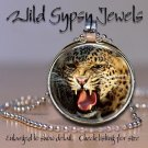 "Angry Leopard snarling BIG CAT 1"" round glass tile metal pendant charm necklace"