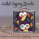 "Whimsical Owls colorful bright purple oxblood red 1"" glass tile pendant necklace"