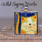 "Tiger cat kitten orange watercolor print 1"" glass tile metal pendant necklace"