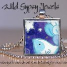 """Wish Upon Star BLUE Happy Baby Bird Whimsical 1"""" glass tile pendant necklace"""