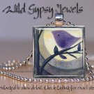 "Night Moon Tree Purple Baby Bird 1"" glass tile pendant necklace NEW Low Price"