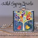"Birds chicks tree of life bright color watercolor 1"" glass tile pendant necklace"