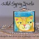 Marmalade orange tiger cat kitten watercolor print glass tile pendant necklace