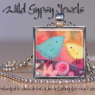 "Mother Mom & Baby Bird Chick Blue Yellow Pink 1"" glass tile pendant necklace"