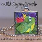 "Green Kermit frog prince watercolor print 1"" glass tile metal pendant necklace"