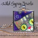 """Gray tiger cat kitten watercolor print in a 1"""" glass tile metal pendant necklace"""