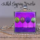 Magenta Purple * night Trees Bright *** abstract ART glass tile pendant NECKLACE