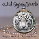 """White tiger blue eyed BIG CAT nature lover 1"""" round glass tile pendant necklace"""